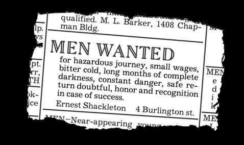 Ernest Shackleton's classic job ad.