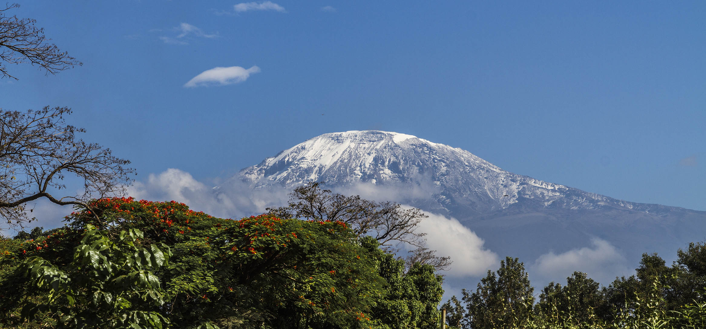 Mount Kilimanjaro, Tanzania.  A rare glimpse of the peak uncovered by clouds.