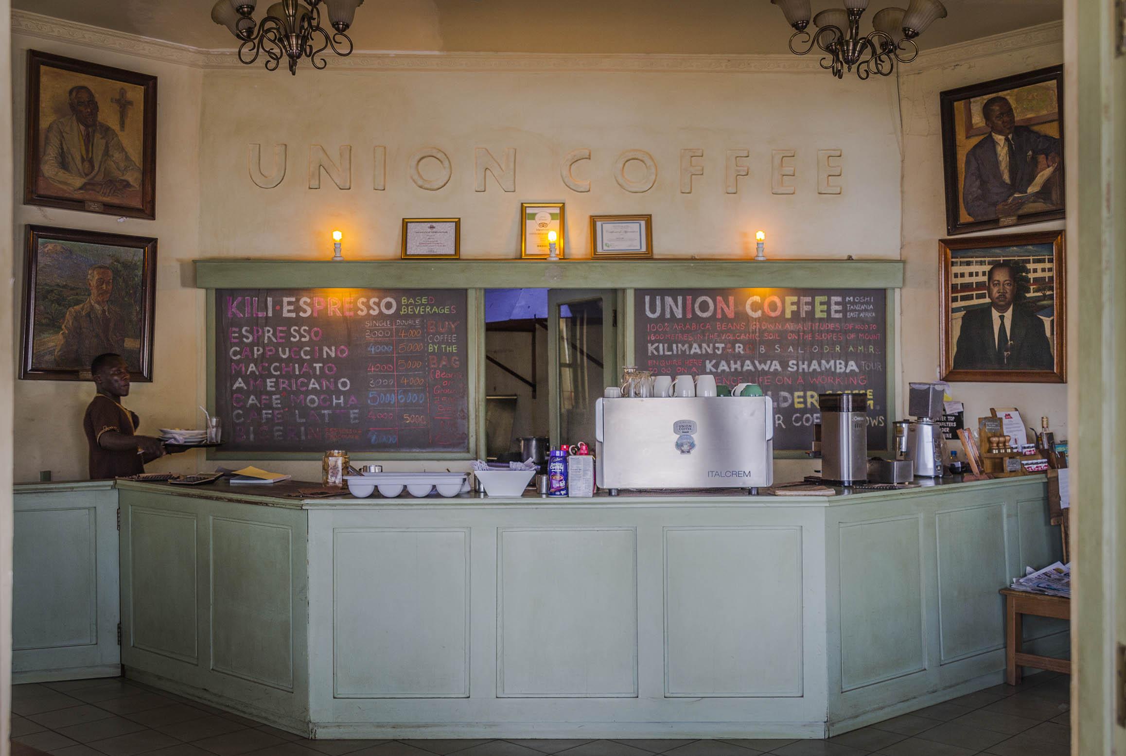 Union Coffee.  Nuestro café favorito en Moshi.
