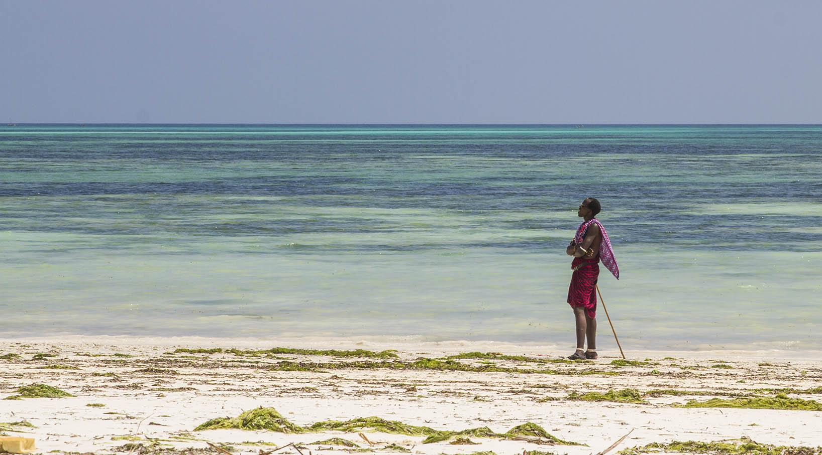 Zanzibar, Tanzania.  A Maasai practising  polepole.