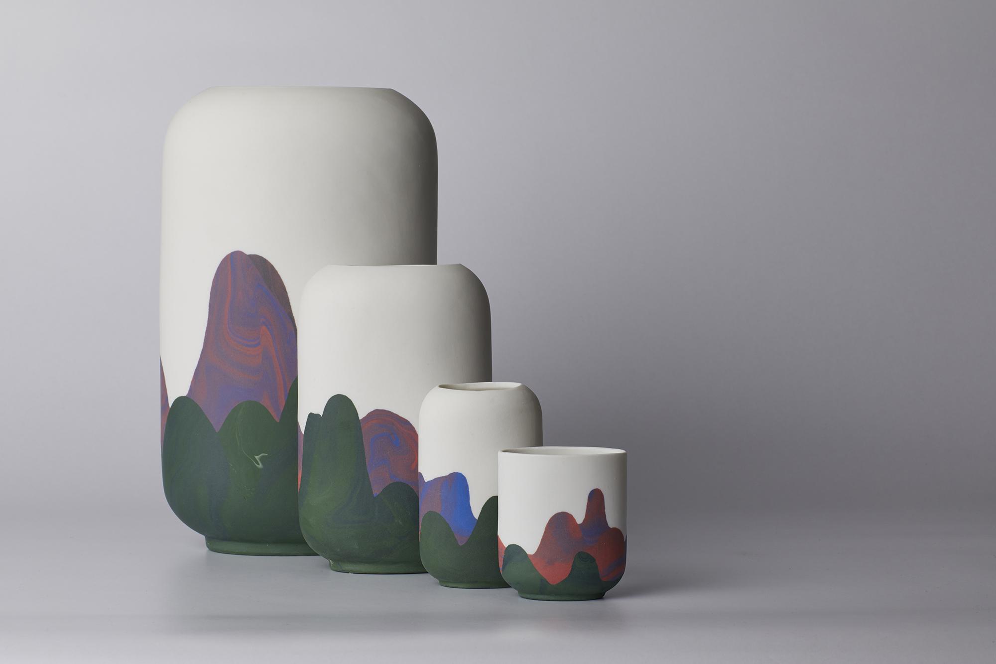 Sham Shui Po Range:  green, red, blue tones; Large vase to cup
