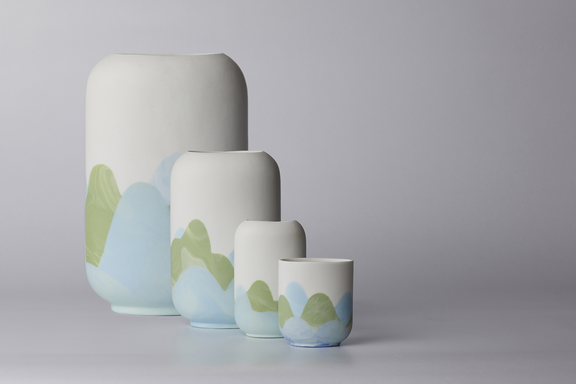 Kennedy Town Range:  light blue, green, white tones: Large vase to cup