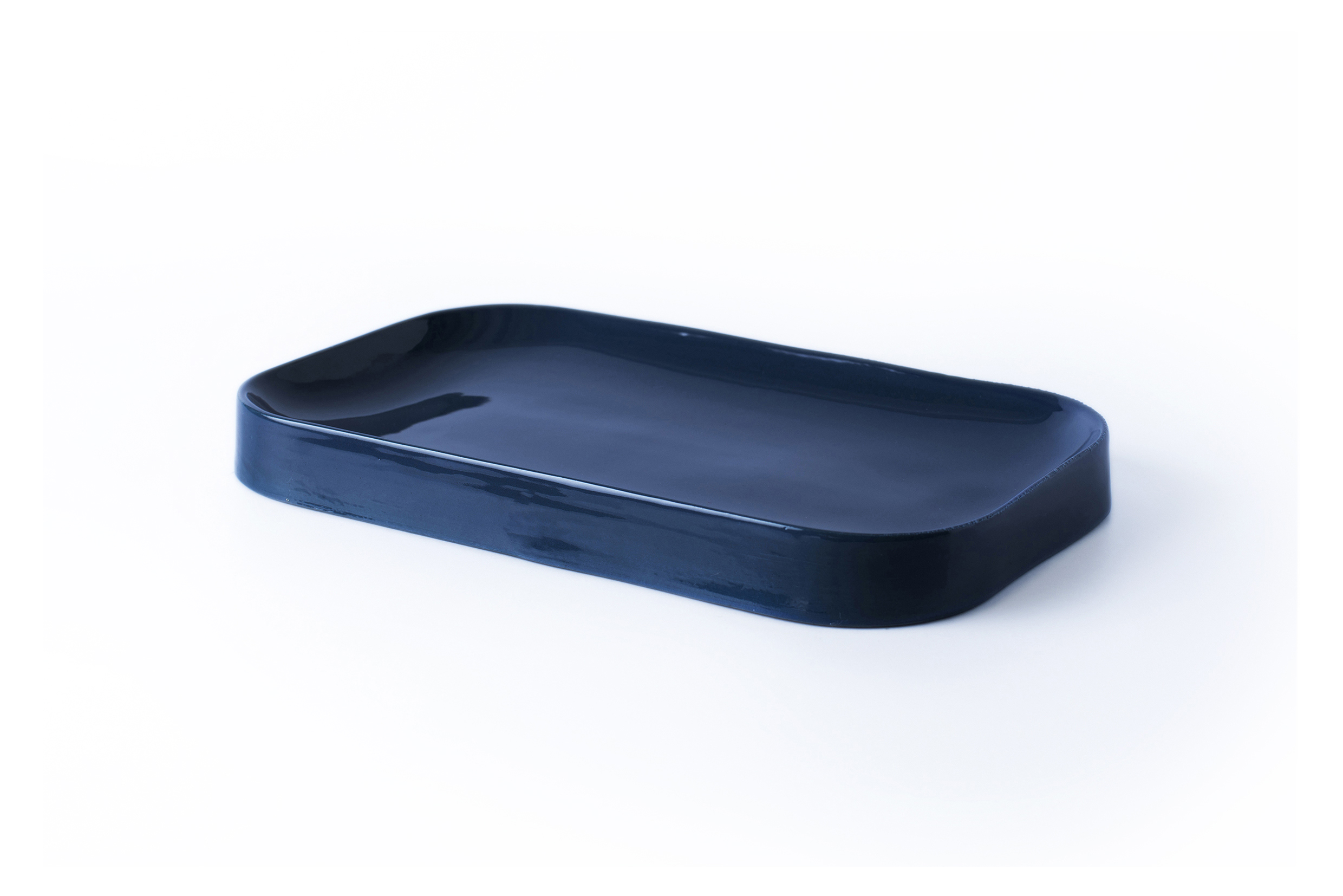 Blue Jade Ceramic Plate - Dark