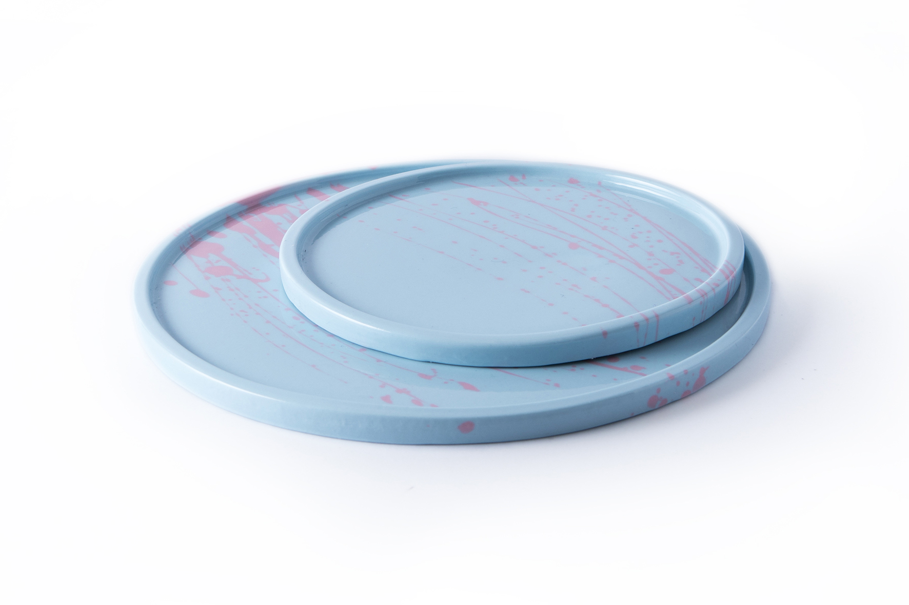 Splash Plates - Blue with Pink