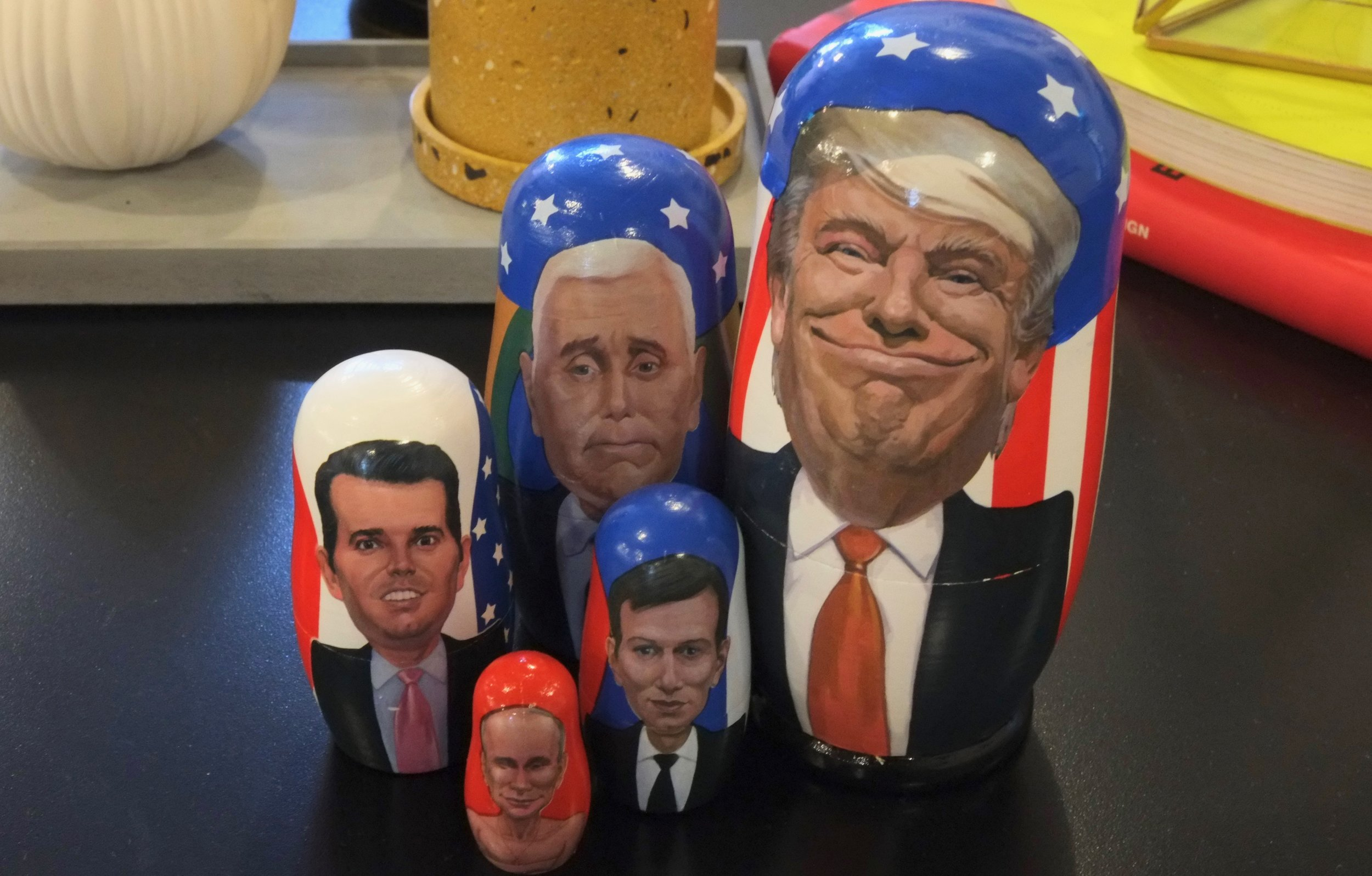 Trump, Pence, Donald Jr., Kushner, and Putin all happy in one set.