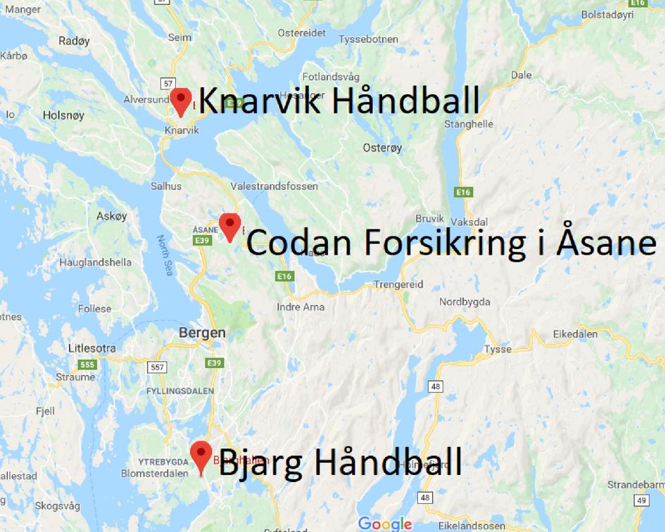 Kjøreturen mellom håndballklubbene Bjarg og Knarvik tar en liten time. Ca halvveis har Codan Forsikring i Åsane sitt lokalkontor. Codan i Åsane skjønner at et slikt samarbeid er kostnadskrevende.