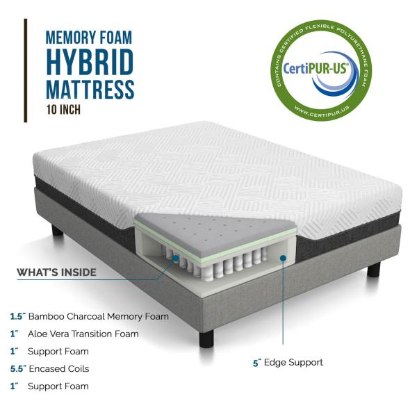 LUCID 10in Hybrid Mattress