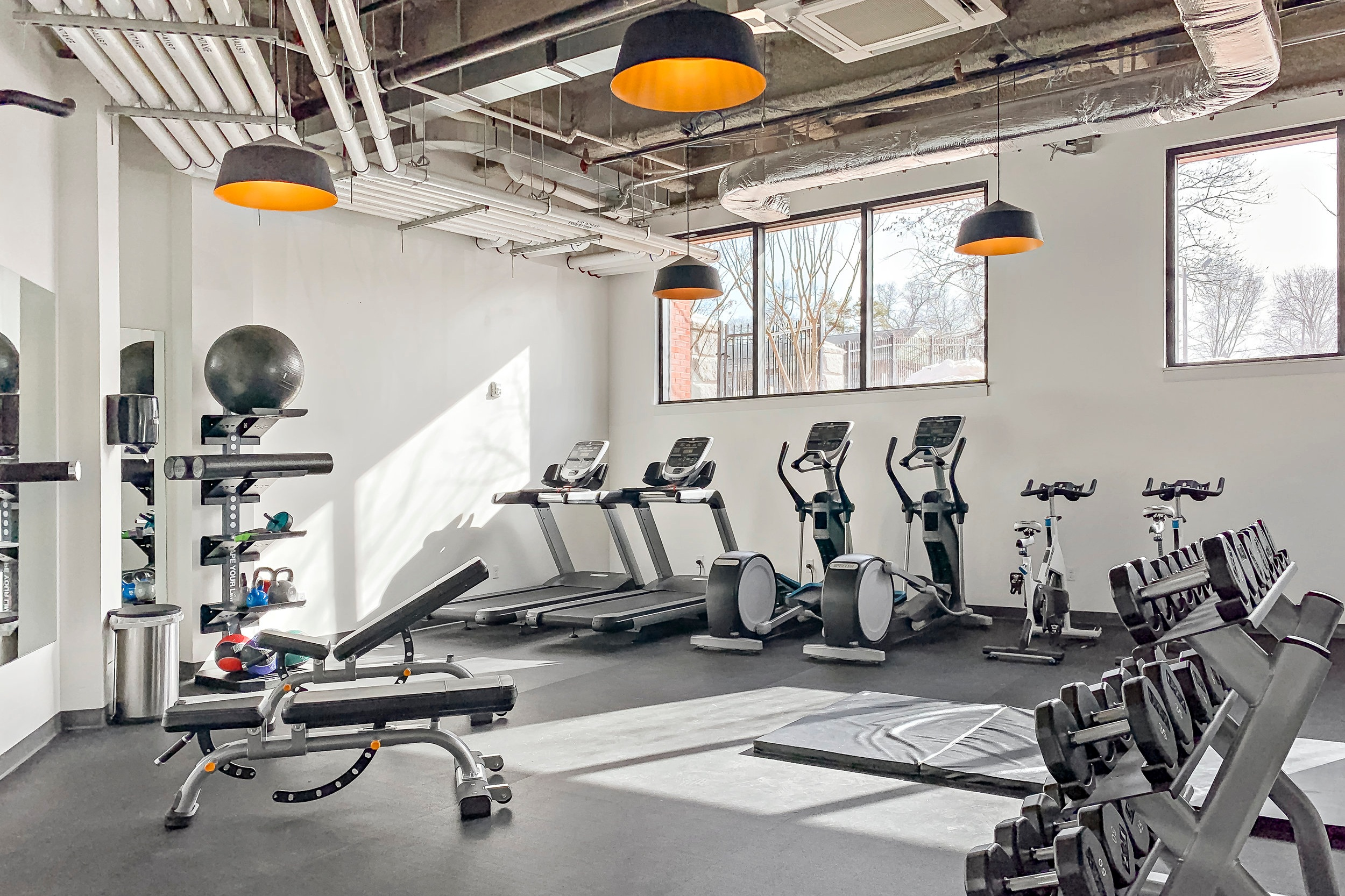 Fitness Center - Roll out of bed, hit the gym, and you're ready for the day. Our 24-hour access fully equipped fitness center will be ready and waiting. Check back soon for our equipment list, or let us know if there's a machine you can't live without.