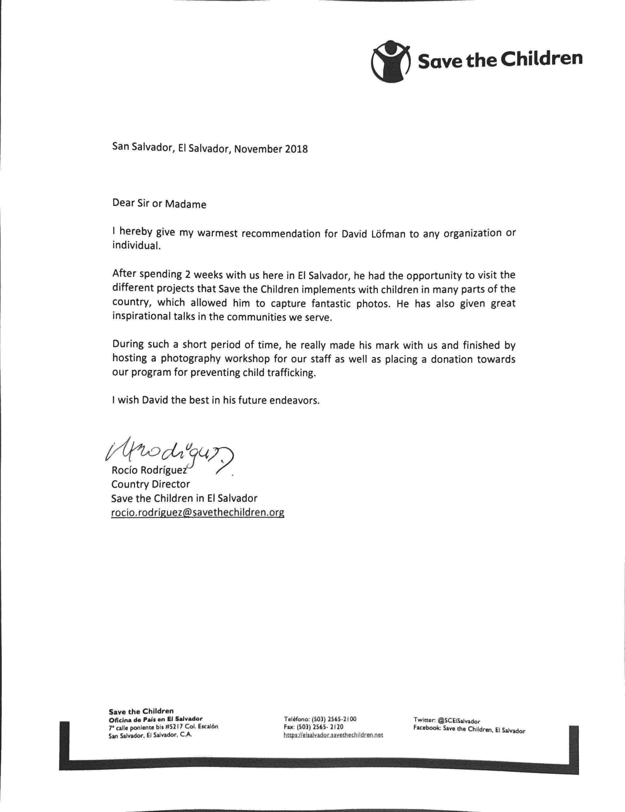 Save the Children Letter of Appreciation
