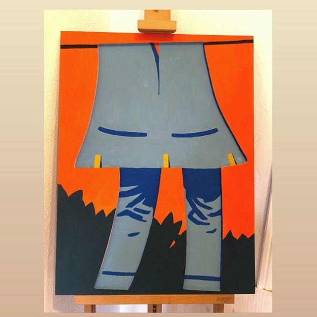 Pantless in paradise. - #pantless #painting #lefrancbourgeois #picturepressplay #fridayillustration #artistsoninstagram #thejaunt #itsnicethat #swedishsummer #woodcutpainting #grossateljeverkstsd