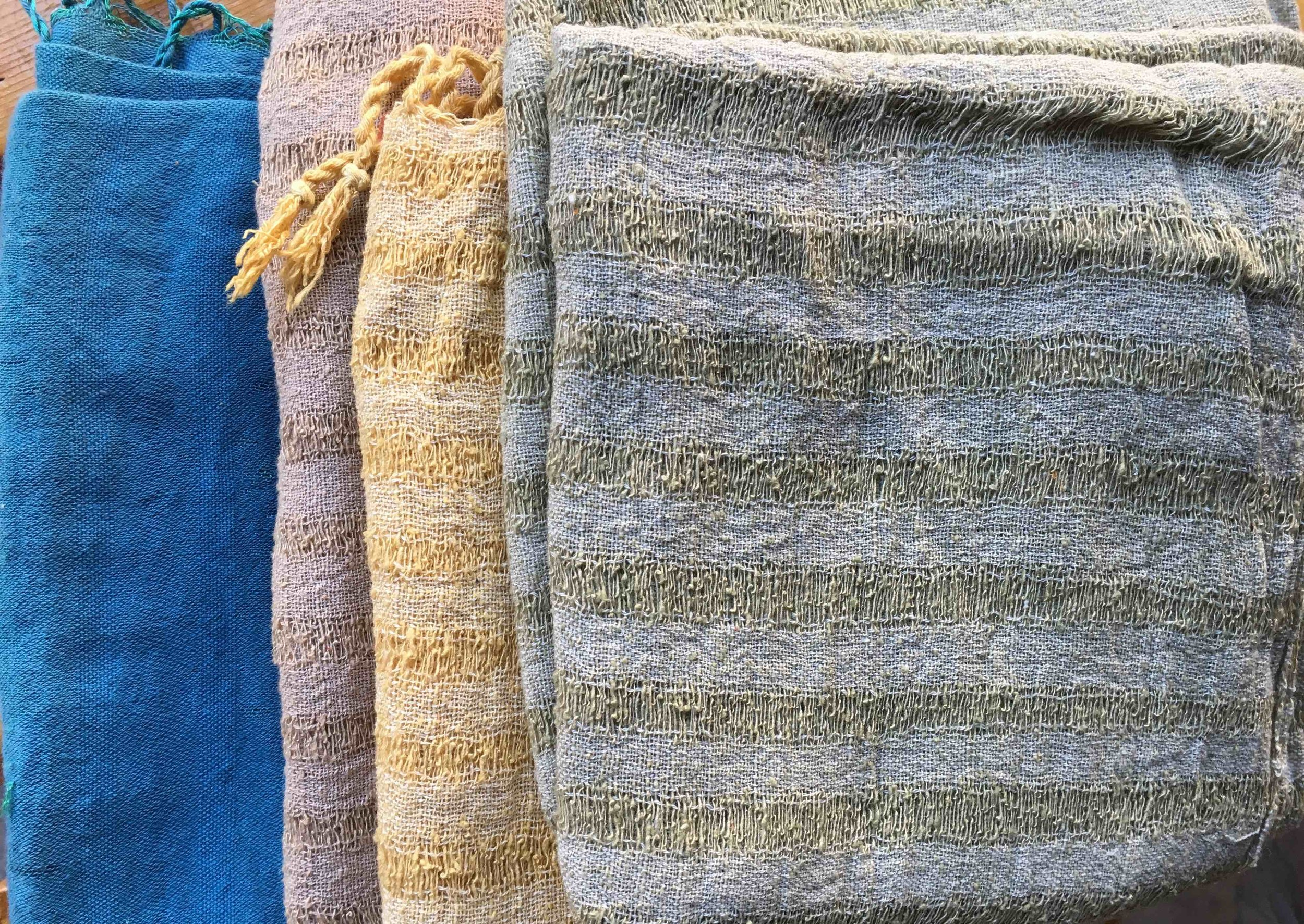 Samples of raw silk scarves