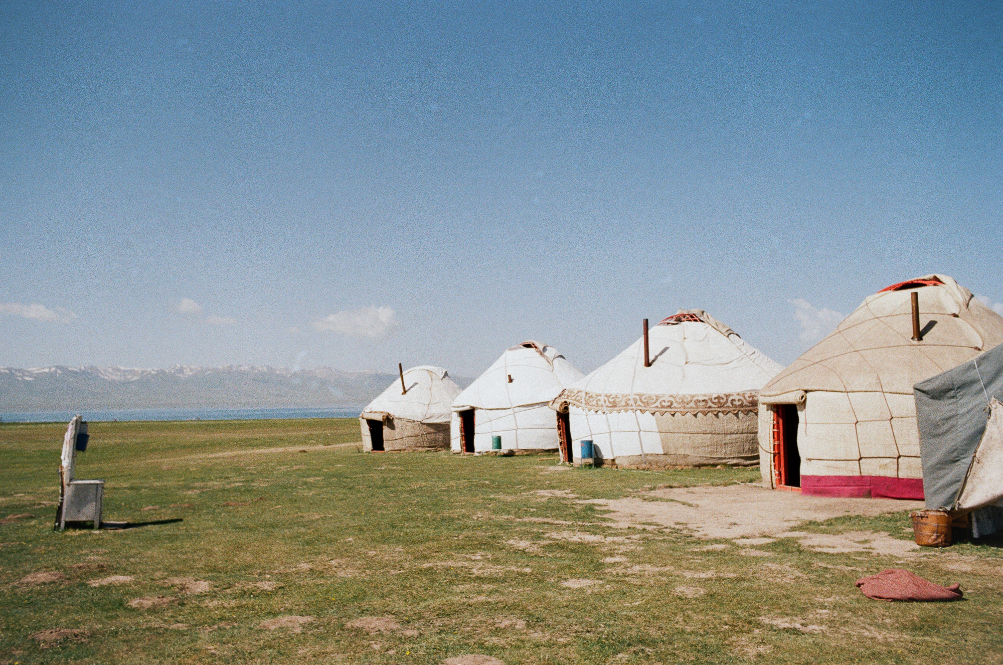 Yurts and a field sink. As you can see there are no electric cables or signs of technology around the settlement