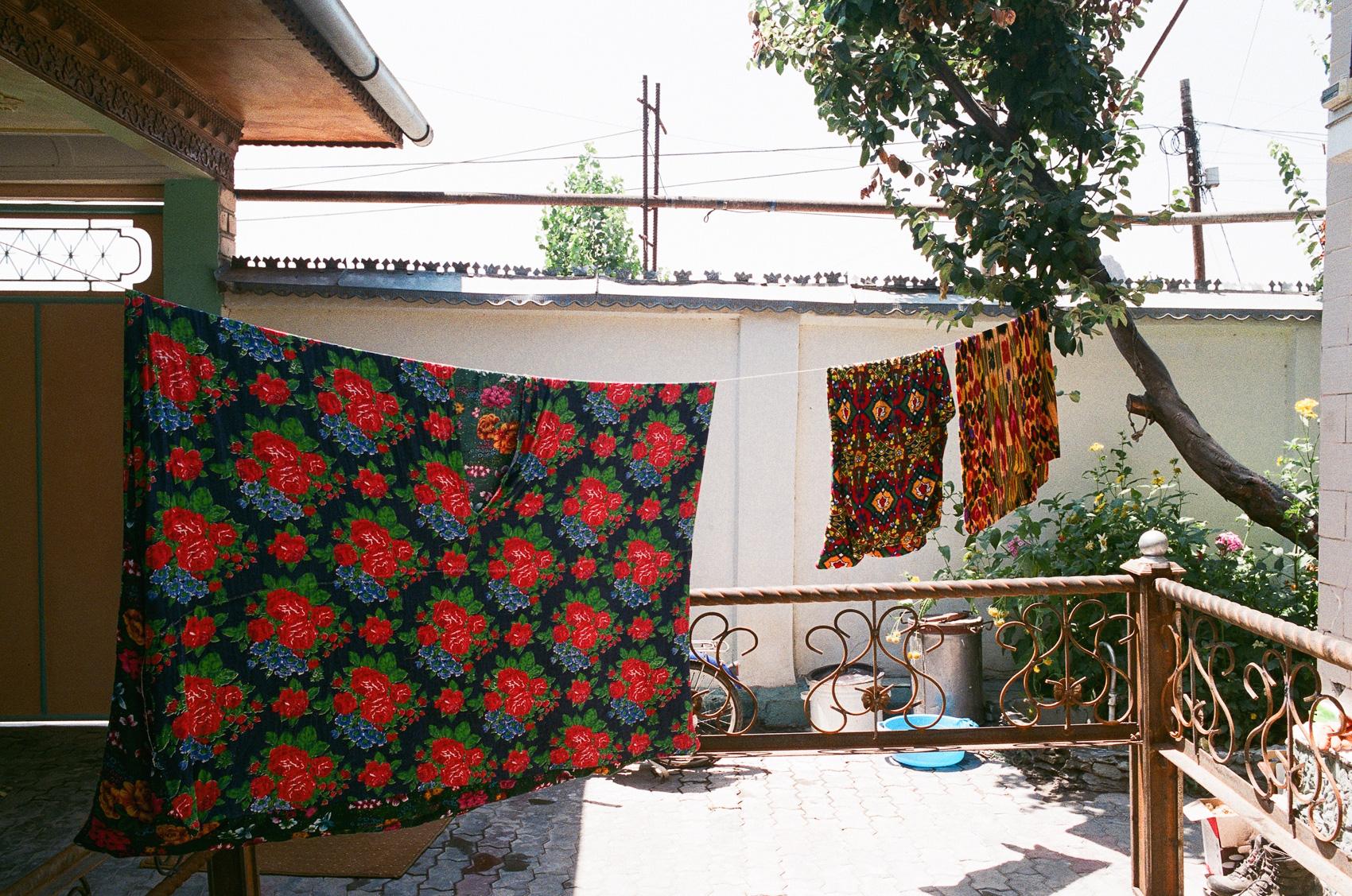 Traditional Uzbek house. Part of mahalla's settlement near Uzbek-Kyrgyz border
