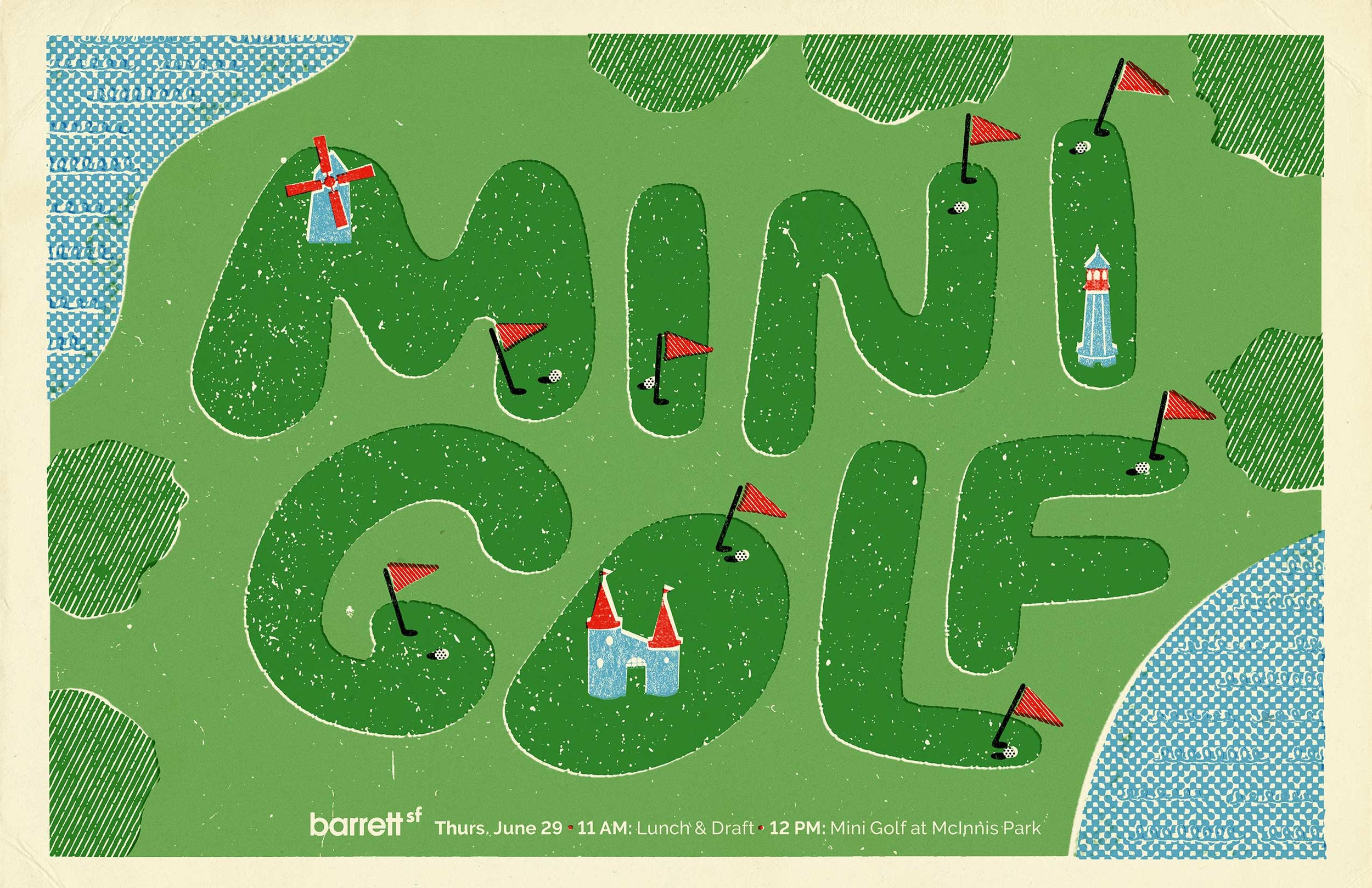 barrettSF asked me to create a promotional poster for their mini golf tournament.