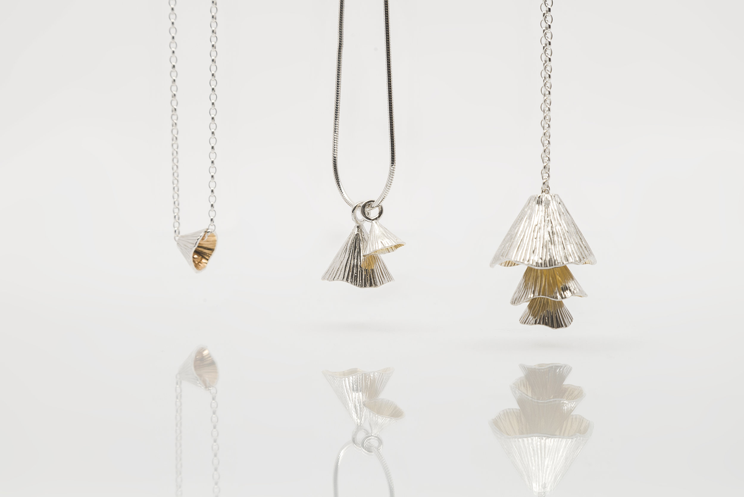 Shell Cone Sterling Silver pendants with 22 carat gold plating SCB3G €65 SCCD3K €135 SC33 €230.jpg