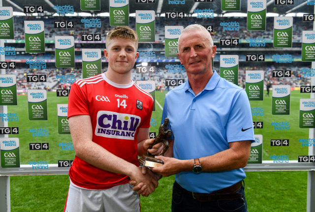 Patrick-Campbell receives his Man of the Match award after the Minor All Ireland Semi-Final versus Mayo