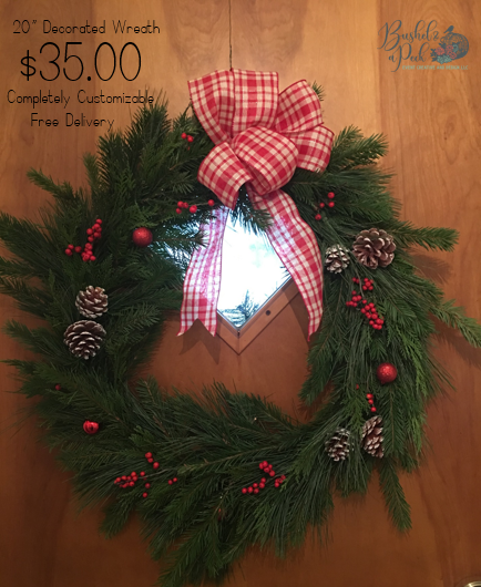"""Wreaths are available in 12"""", 18"""" 20"""" or larger"""