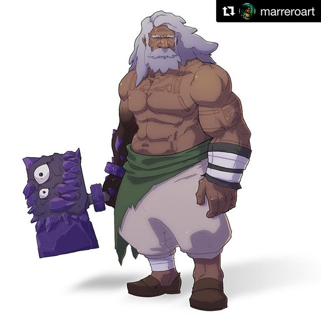 "#Repost @marreroart with @get_repost ・・・ Character art ""black smith"". . . . . #characterdesign #art #concept #blacksmith #hammer #demon #oldman #drawing #wepa #flan #instaart"