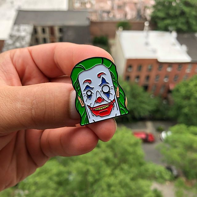 "L7: ""2019"" Clown Prince Enamel Pin on sale now! ...WEPA! (Wepaflan.com / Link in the bio or DM me) . 🤡 . . . . . . . #wepa #joker #jokermovie #joker2019 #DC #fanart #friday #haha #pinart #pins #stickerart #smile #batman #art #l7 #movies"