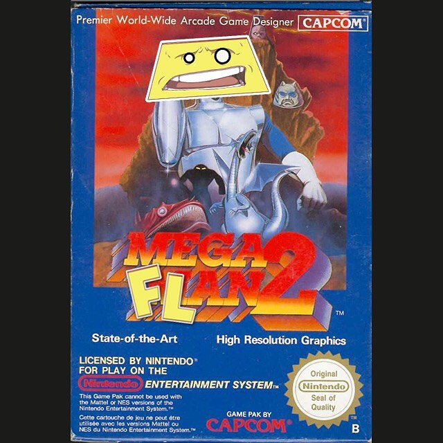 Throwback game of the week...WEPA! . . . . . . . #wepa #wepaflan #toy #indietoys #foodtoy #nintendo #nes #game #megaman2 #promo #throwback #art #flan