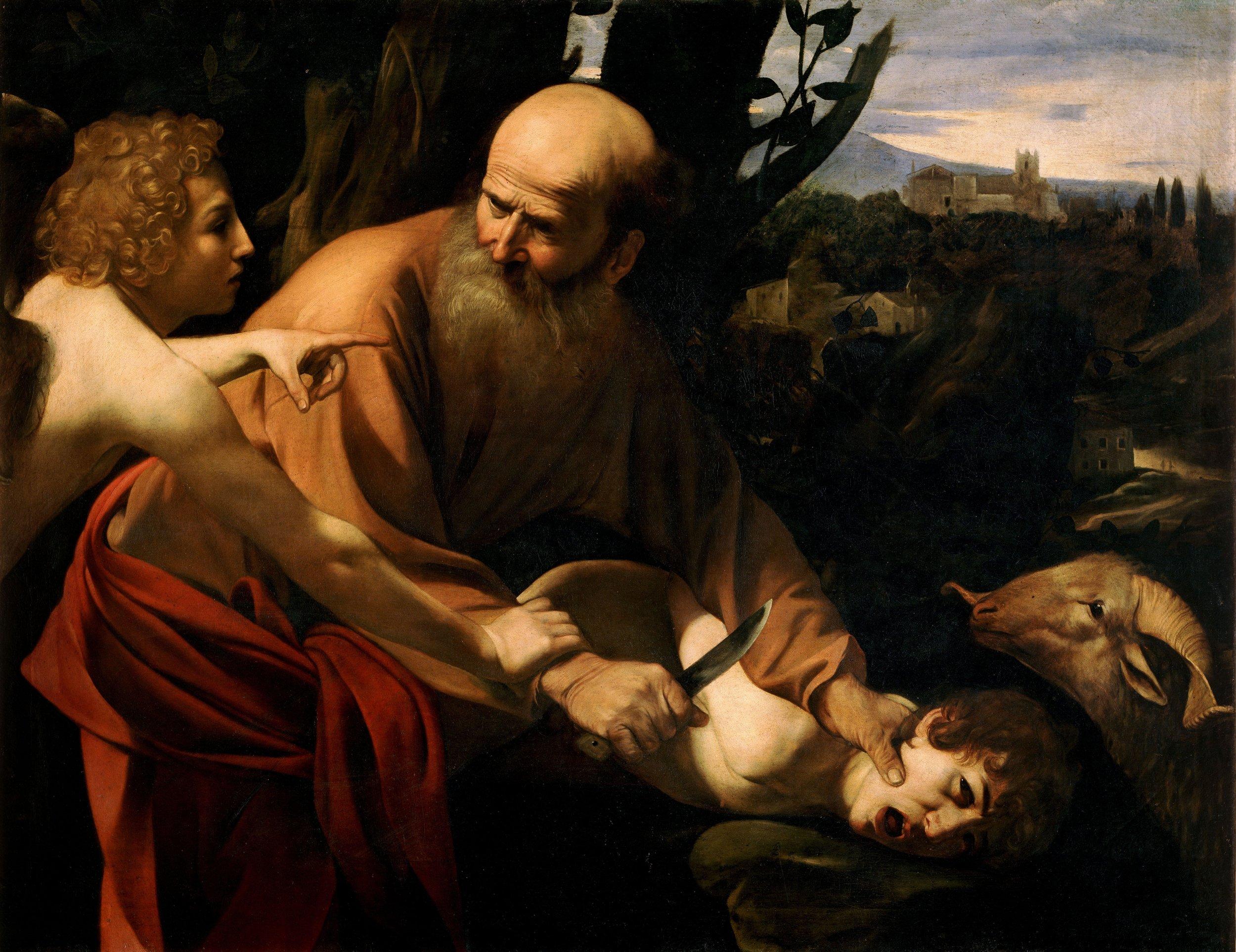 caravaggio - sacrifice of isaac, 1603. image courtesy of galleria degli uffizi, firenze