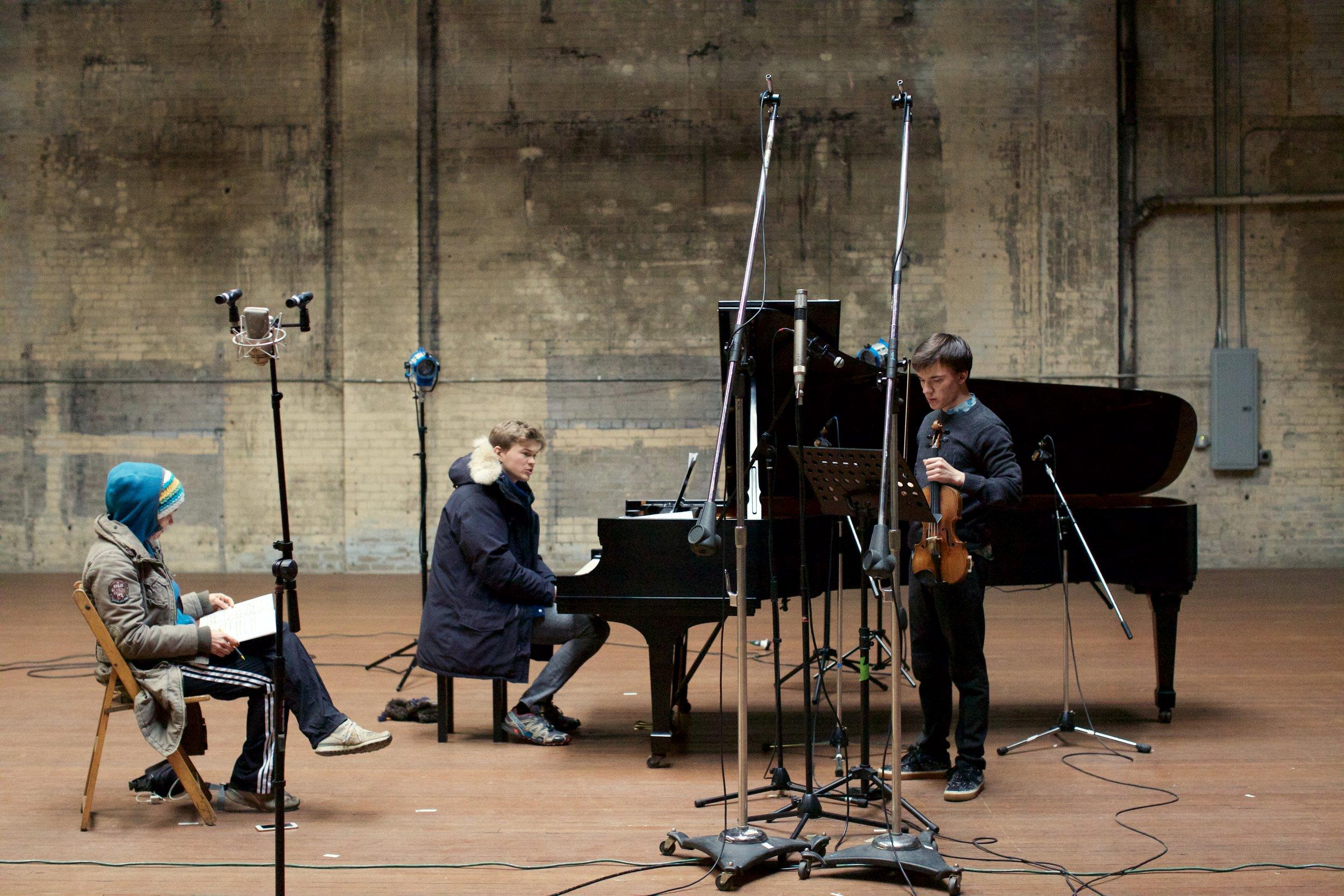 Caroline siegers, Ivan moshchuk, and Yury revich in studio. photo - stewart french