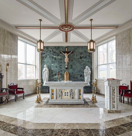 Traditional Design, Modern Amenities - Archbishop Broglio brought in the beautiful alter and the carrera marble statues that flank the altar. These pieces set the tone for the designs Canning developed in order to transform the chapel.Read More.