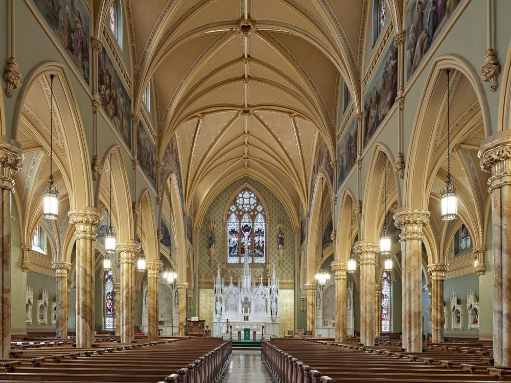 St. Patrick Parish - Lowell, MAFull restoration of the interior including color matching, mural conservation, floor design consultation.