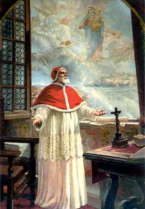 Pius V receiving a vision of the victory. Artist, Unknown.