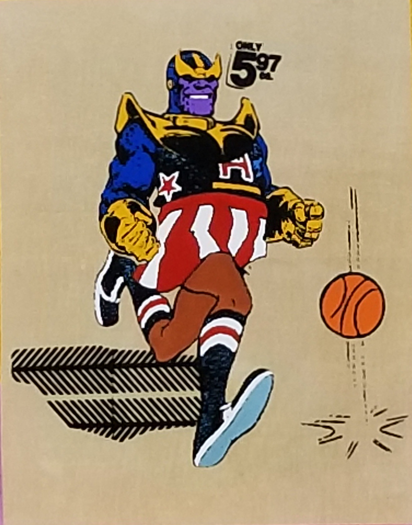 "Code Name: Harlem Thanos   With his unique combination of athleticism, theater, and comedy, he's able to collect the Infinity Gems. He uses the gems to create the Infinity Gauntlet, making himself omnipotent, and erases half the living things in the universe by preforming an infinity layup.  screen print and acrylic on wood panel.  11"" x 14"""