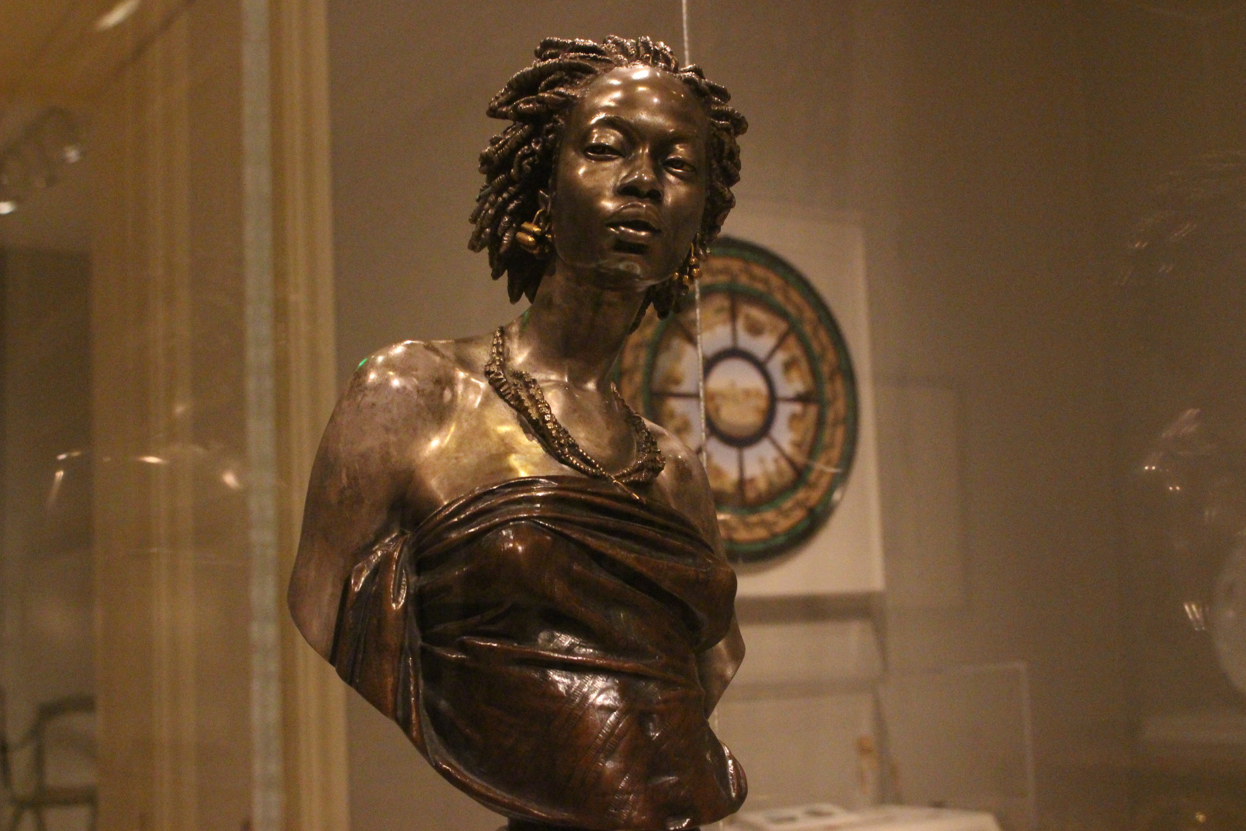 The bust of an African woman made of bronze