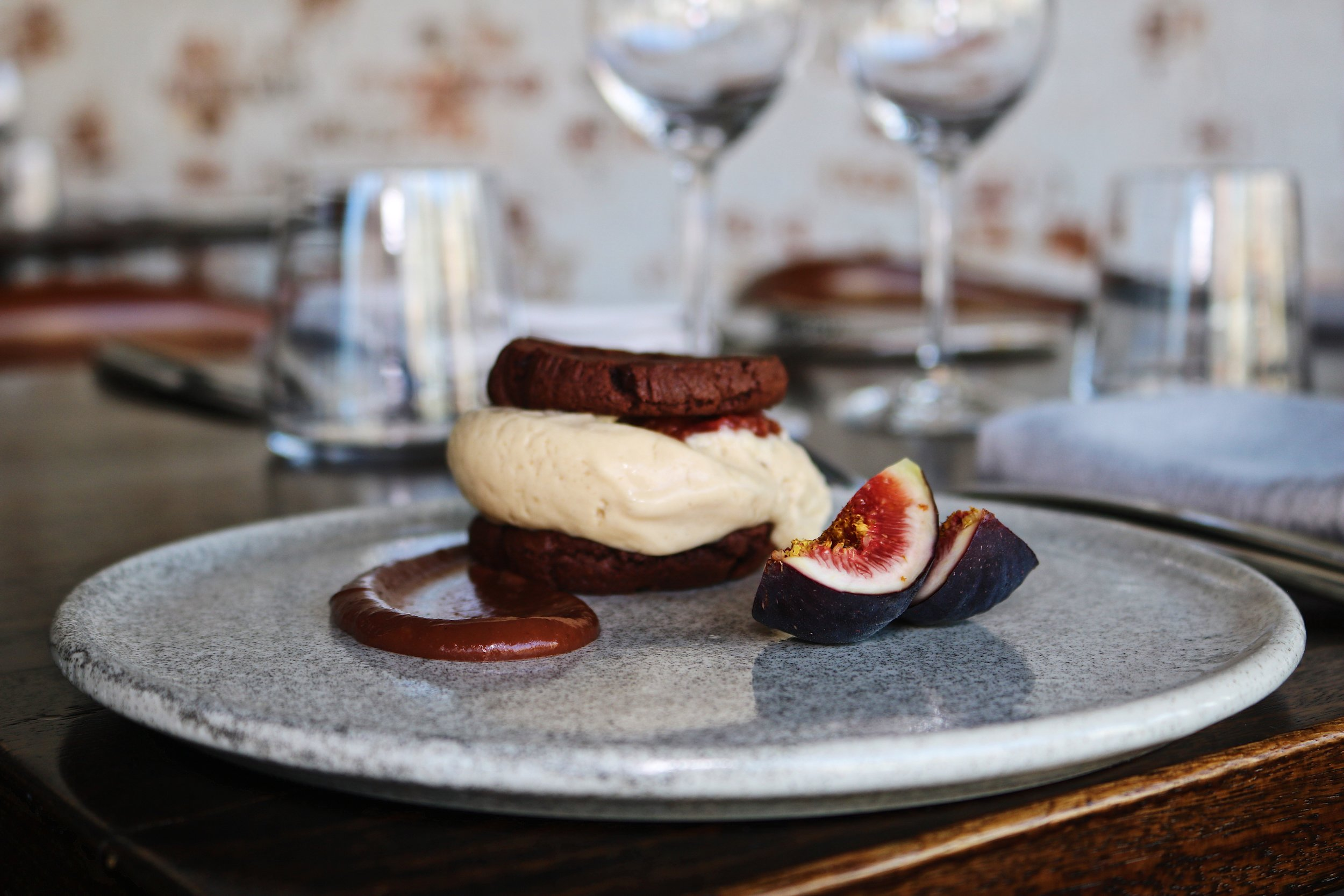 Caramelised Fig Ice-Cream Sandwich with Valrhona Chocolate Cookies and Spiced Fig Marmalade