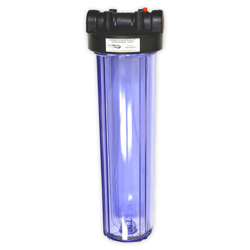 """20"""" Clear Filter Housing (EVW-H-45-20-CL) - This EverWave filter housing has a clear exterior with a black cap. It has the ability to hold 20"""" sediment pre-filters."""