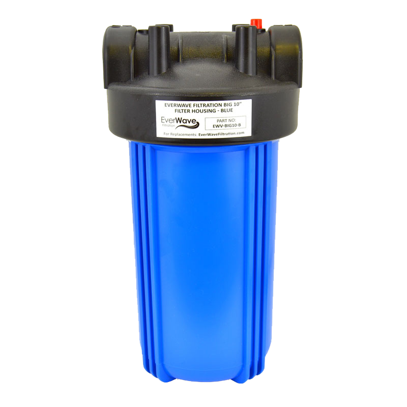 """10"""" Blue Filter Housing (EVW-H-45-5-BL) - This EverWave filter housing has a blue exterior with a black cap. It has the ability to hold 5"""" sediment pre-filters."""