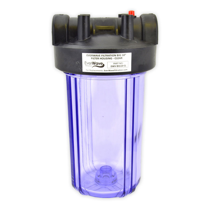 """10"""" Clear Filter Housing (EVW-H-45-5-CL) - This EverWave filter housing has a clear exterior with a black cap. It has the ability to hold 5"""" sediment pre-filters."""