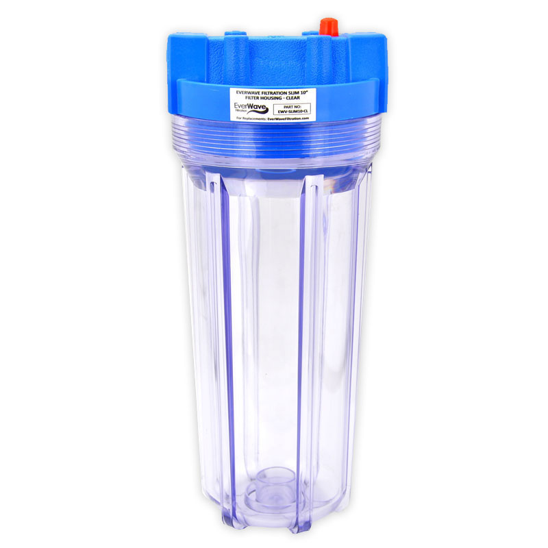 """10"""" Clear Filter Housing (EVW-H-25-10-CL-75) - This EverWave filter housing has a clear exterior with a blue cap. It has the ability to hold 10"""" sediment pre-filters. The brass threads are 3/4""""."""