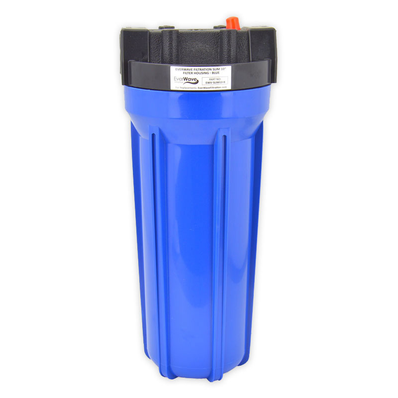 """10"""" Blue Filter Housing (EVW-H-25-10-BL-75) - This EverWave filter housing has a blue exterior with a black cap. It has the ability to hold 10"""" sediment pre-filters. The brass threads are 3/4""""."""