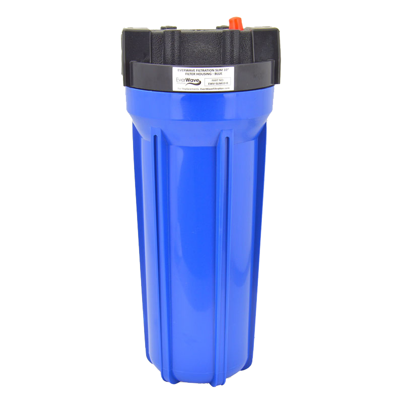 """10"""" Blue Filter Housing (EVW-H-25-10-BL-10) - This EverWave filter housing has a blue exterior with a black cap. It has the ability to hold 10"""" sediment pre-filters. The brass threads are 1""""."""