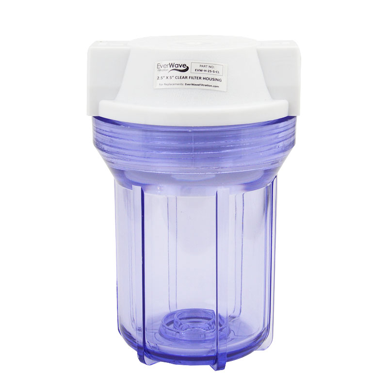 """5"""" Clear Filter Housing (EVW-H-25-5-CL) - This EverWave filter housing has a clear exterior with a white cap. It has the ability to hold 5"""" sediment pre-filters."""