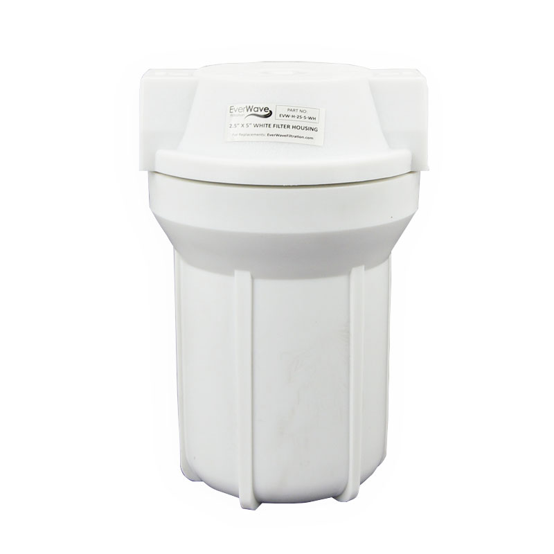 """5"""" White Filter Housing (EVW-H-25-5-WH) - This EverWave filter housing has a white exterior with a white cap. It has the ability to hold 5"""" sediment pre-filters."""