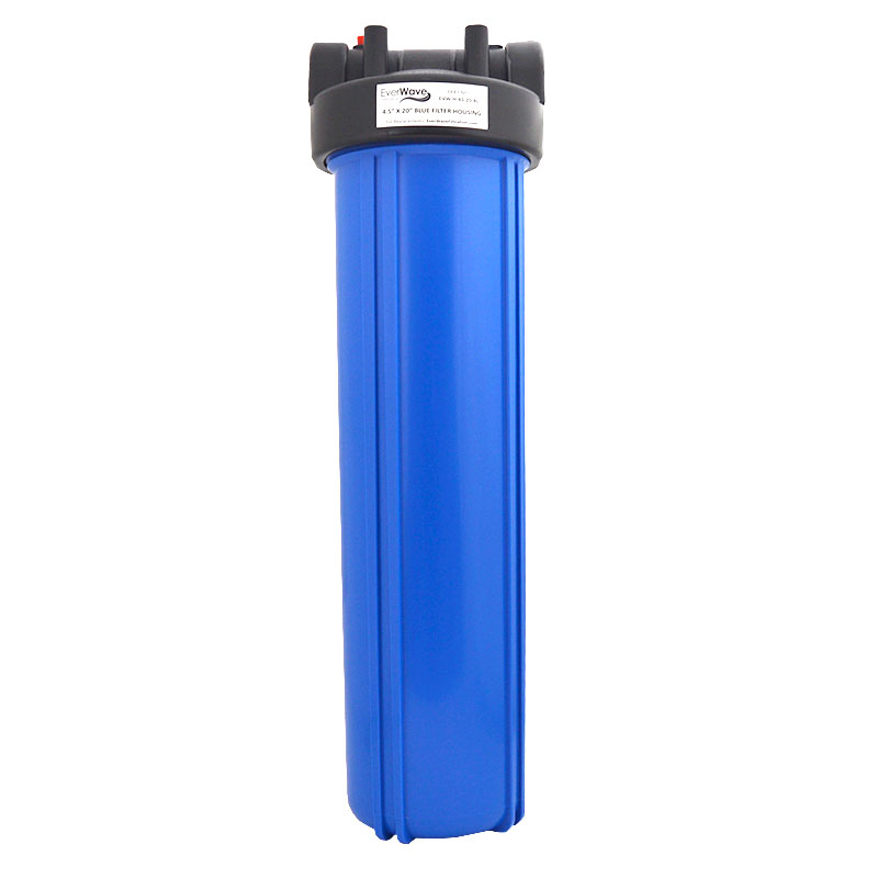 """20"""" Clear Filter Housing (EVW-H-45-20-BL) - This EverWave filter housing has a blue exterior with a black cap. It has the ability to hold 20"""" sediment pre-filters."""