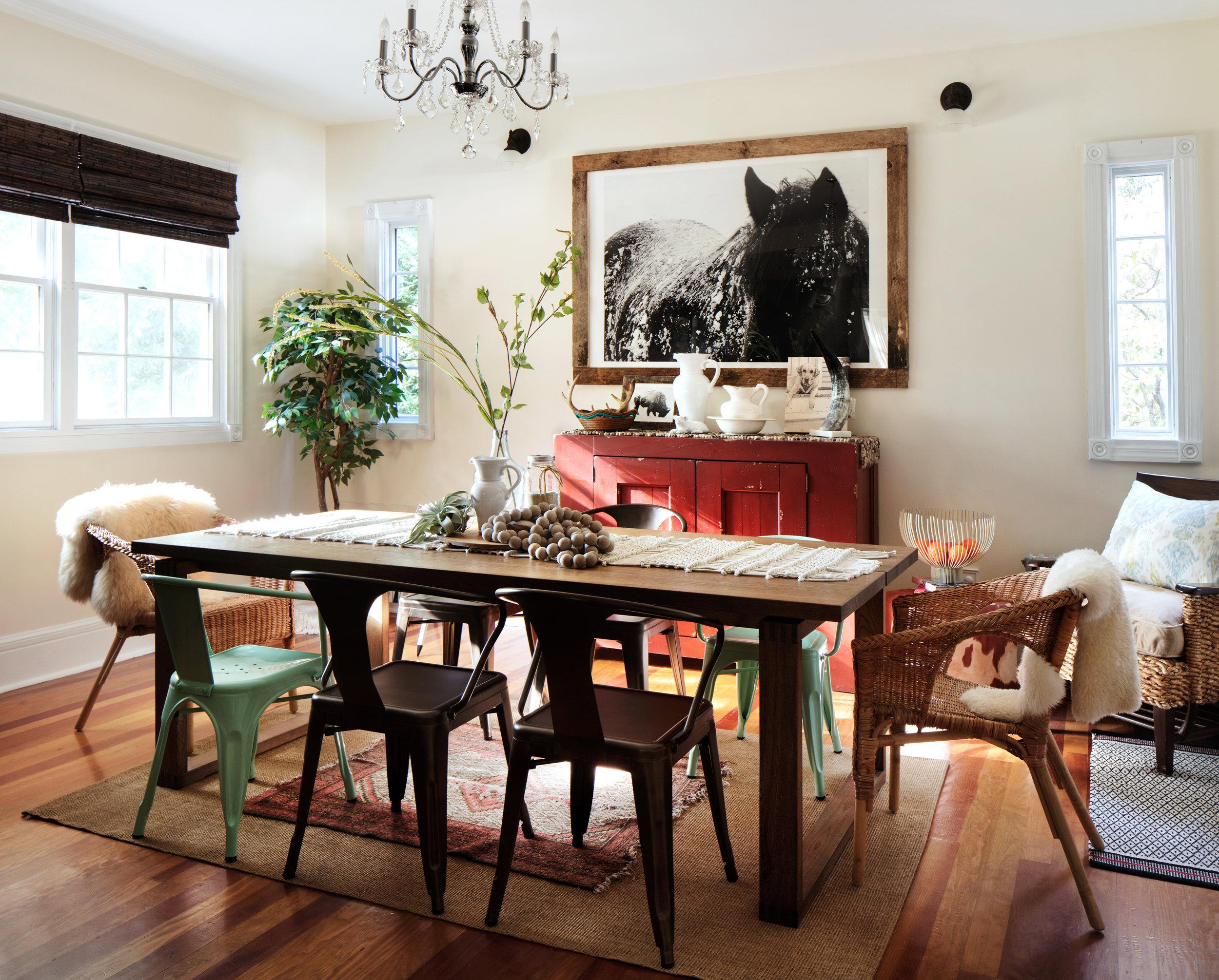 Rustic , boho dining room