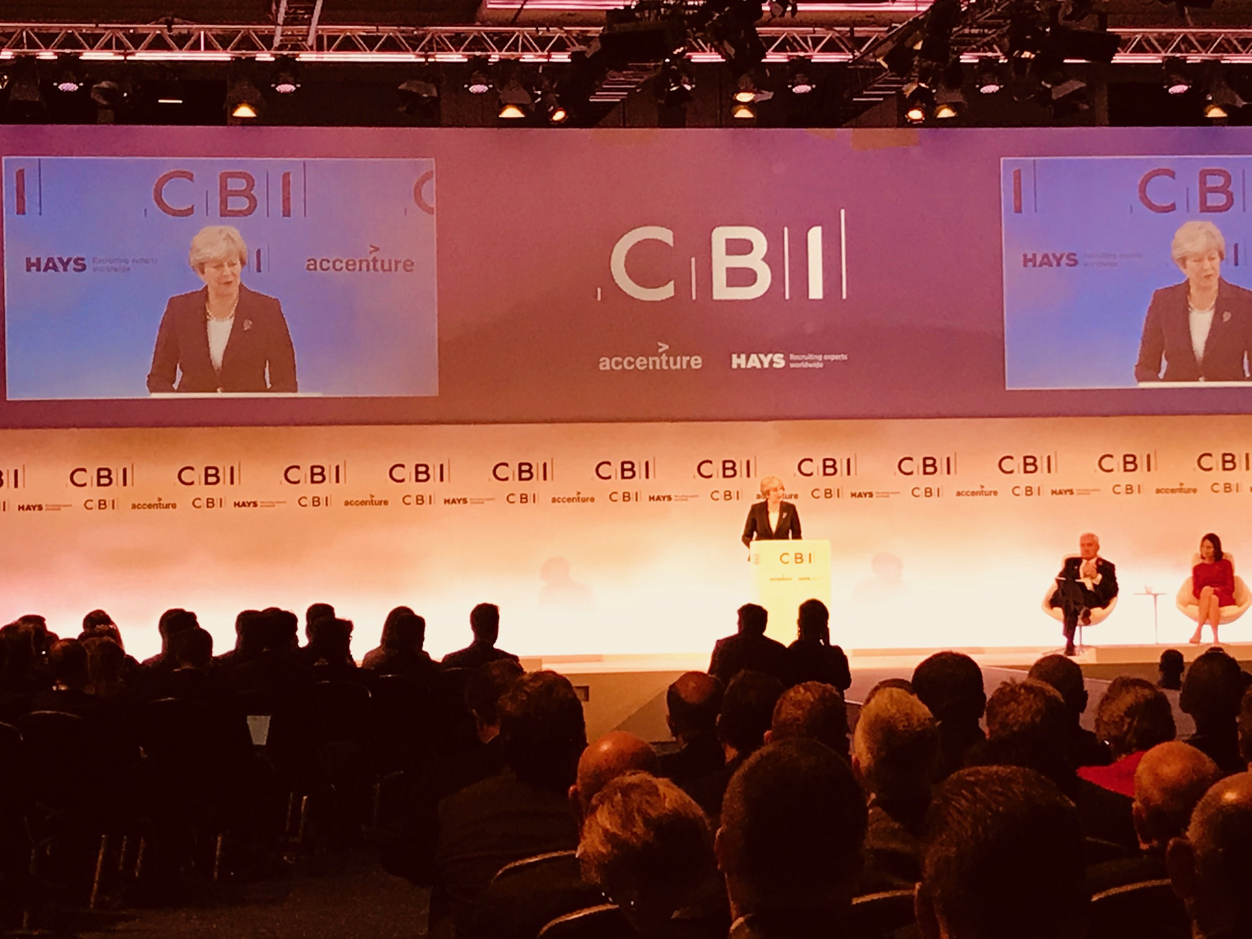 Theresa May, UK Prime Minister, speaking at CBI Conference London November 6, 2017