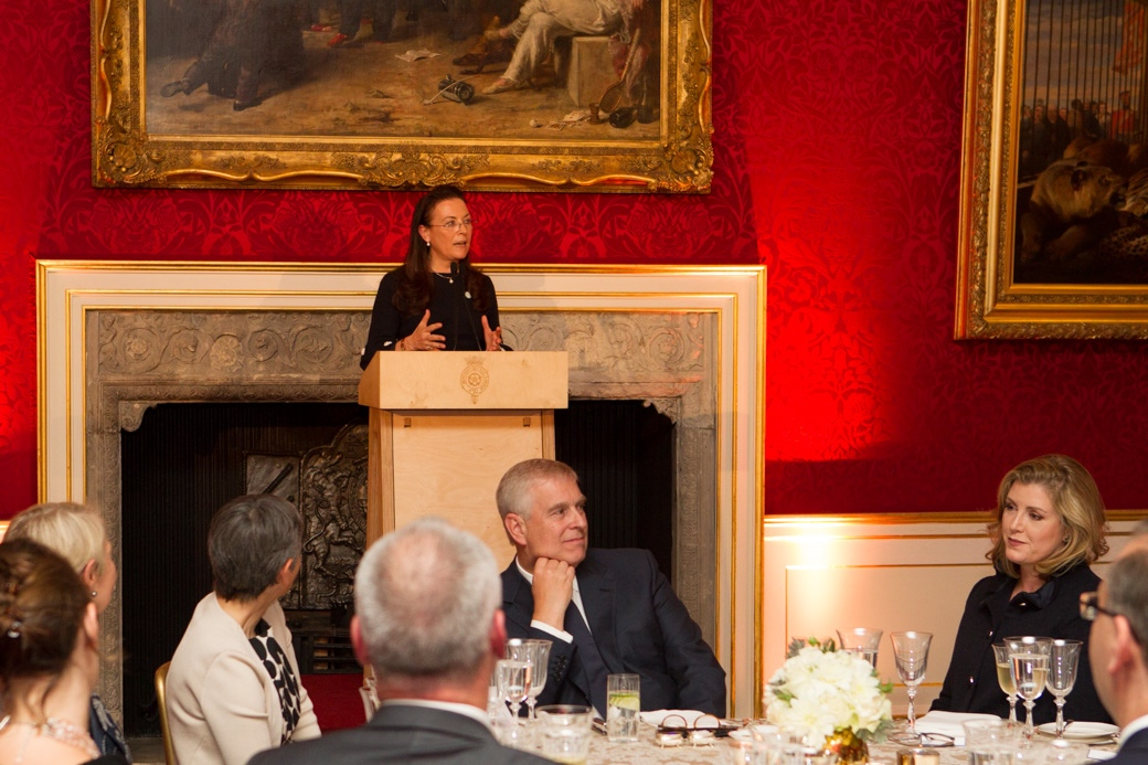 Emer Timmons, co-chair of MACA action group, speaking at the event at St James's Palace. HRH The Duke of York and Penny Mordaunt pictured among those listening. London, September 6, 2018.