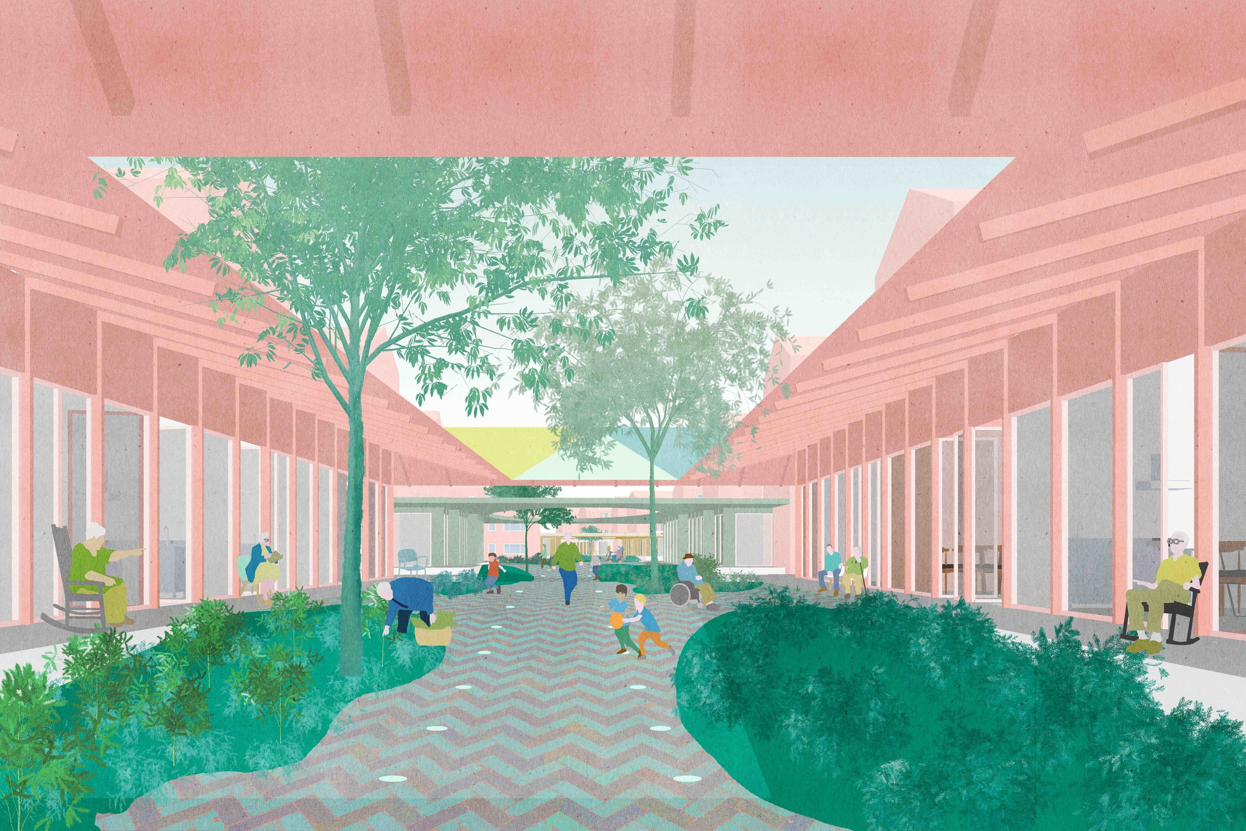 De Dwarsstraat finalist in the Who Cares Competition  Our plan 'De Dwarsstraat' for the competition Who Cares is a proposal to transform an undefined cross-street of the neighbourhood Carnisse, Rotterdam and some of its adjacent buildings into an convenient urban corridor for new living and healthcare conditions. Plan developed for diederendirrix architects, together with Vitaalzorgvast, Delva en UNITiD.