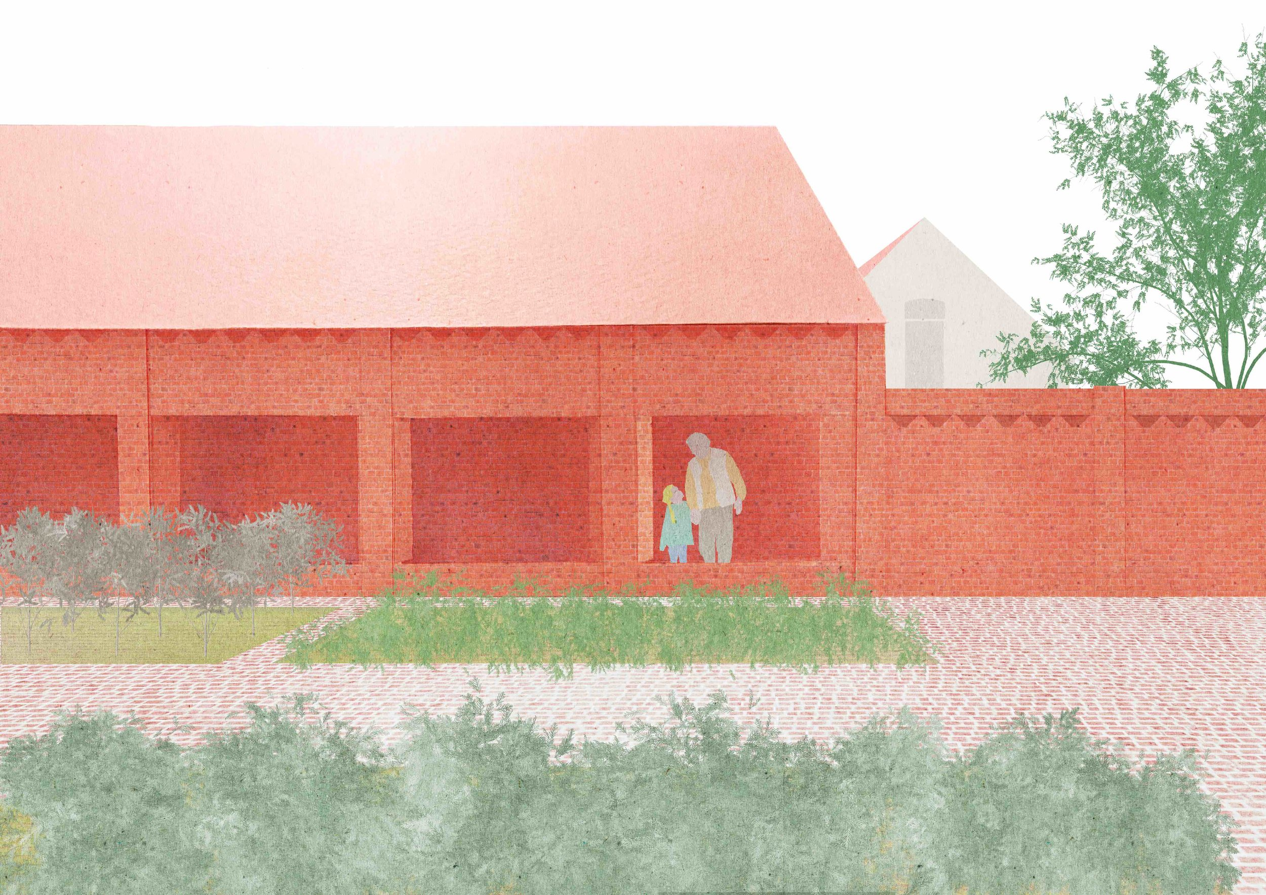 Tomas Dirrix winner of the Meesterproef 2017.  In a competition organised by the Atelier Vlaams Bouwmeester Tomas Dirrix was selected as winner with a plan for the conversion of an enclosed, 100 meter long farm in the impressive landscape of the Wortel-Colony of Benevolence, established in 1822. While maintaining the original closed character of the complex, the brief for a distillery and tasting rooms asked for a strong relationship with the surrounding herb garden and landscape. The project embraces this paradox, and proposes to actually double the existing external wall, through which also a new public-route is established.