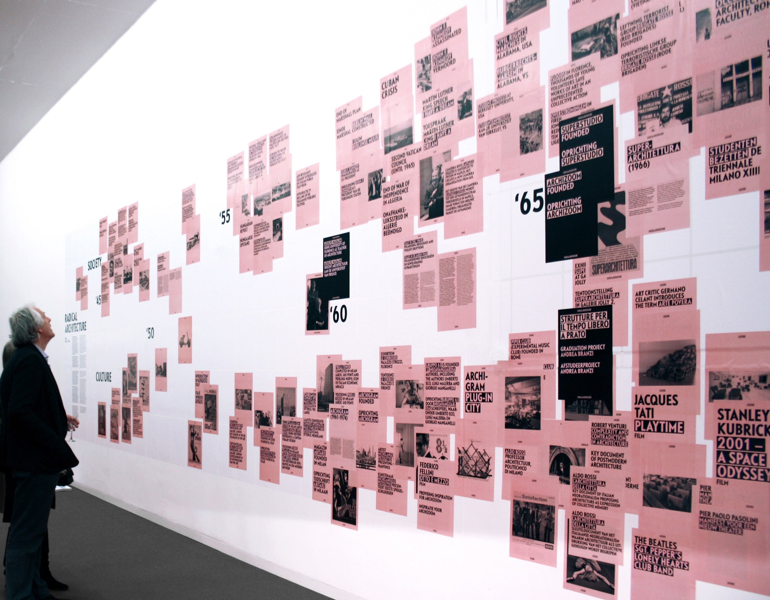 Exhibition Radical Architecture De Singel, Antwerpen  This small  exhibition , examines different strands of architectural thought and forms of activism that emerged in Italy in the 1960s and 1970s. We looked at the historical and political backgrounds of Radical Architecture and at the projects, manifestoes and happenings through which the ideas on architecture and society were communicated.  This exhibition is a collaboration of the Flemish Architecture Institute (VAi), the research group Interiors, Buildings and Cities at the Faculty of Architecture of Delft University of Technology (TU Delft), The Netherlands and deSingel International Arts Campus.Graphic design by Team Thursday.