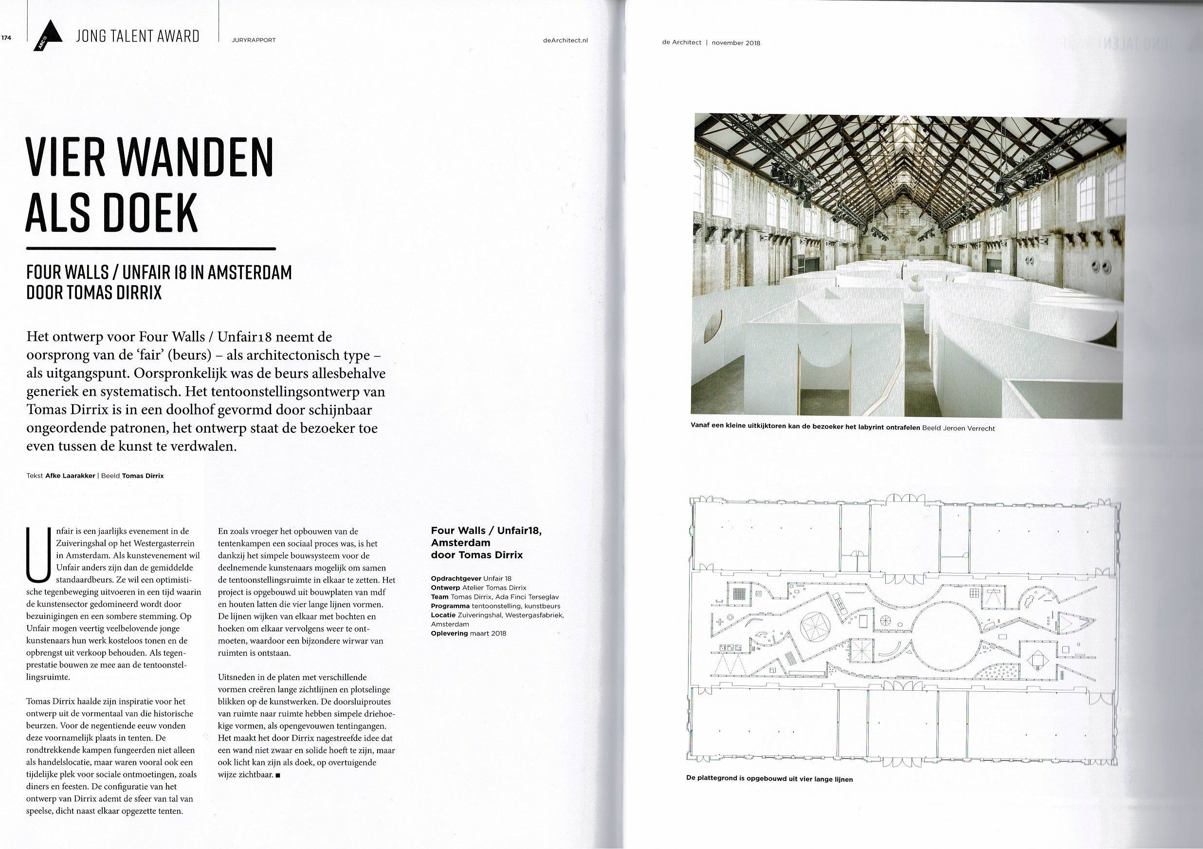 Article in Dutch magazine 'De Architect' - Dec/Jan 2018