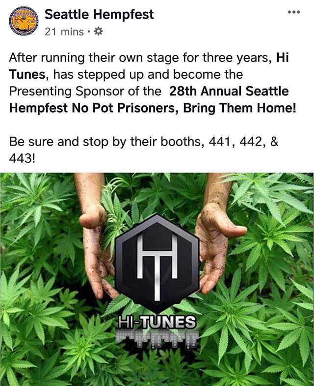 Proud to be the Presenting Sponsor of this years 2019 Seattle Hempfest. :) @theseattlehempfest