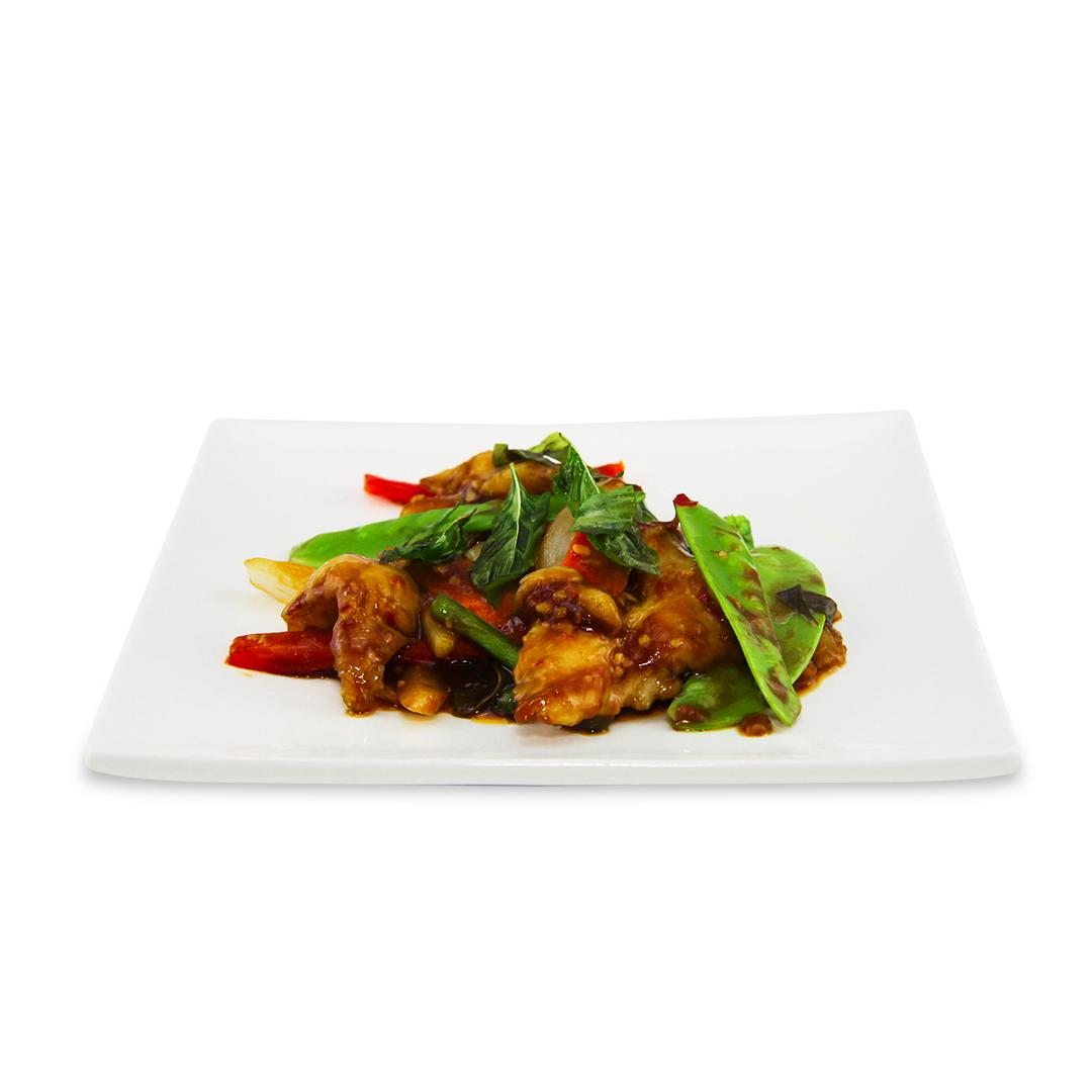 Filet de poisson sauté avec sauce au basilic pimenté -